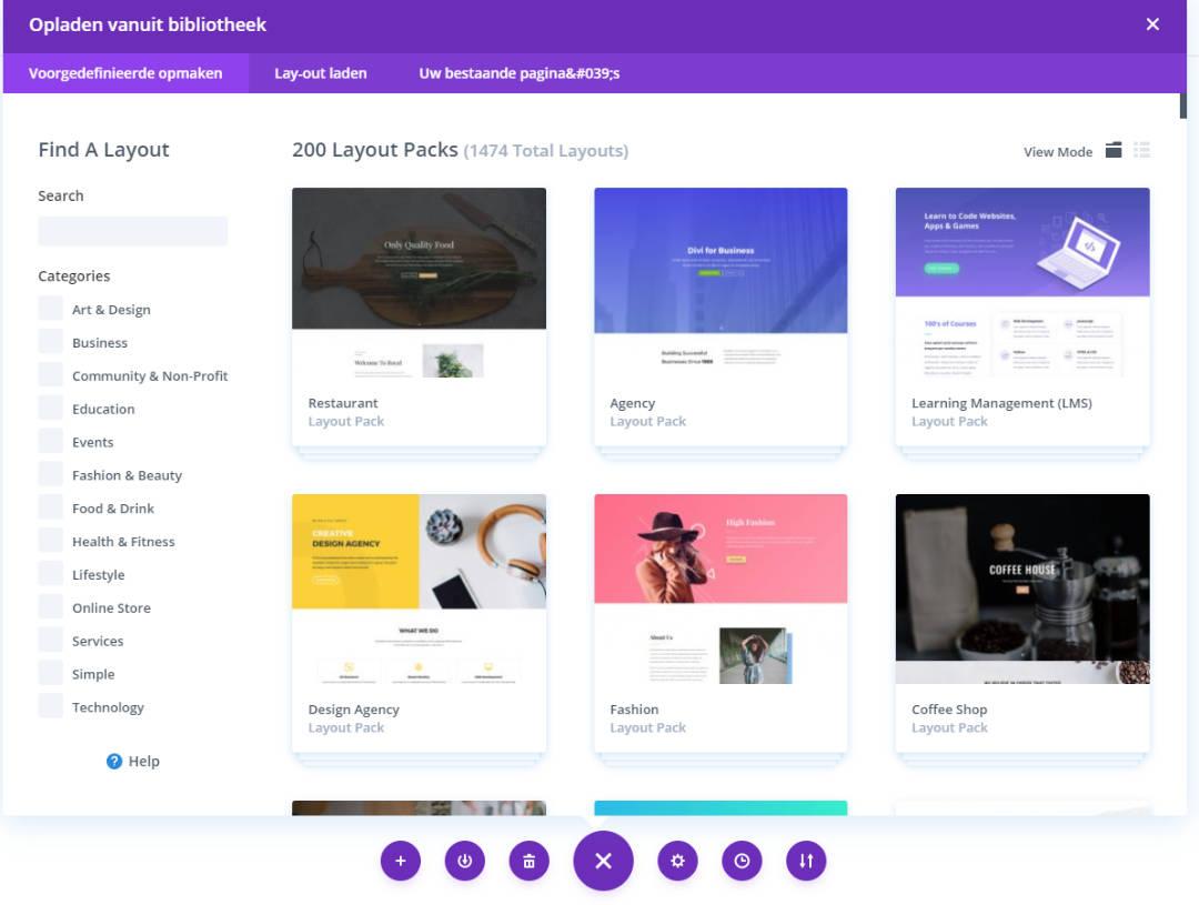 Bibliotheek Divi Theme alle themas om een website te maken