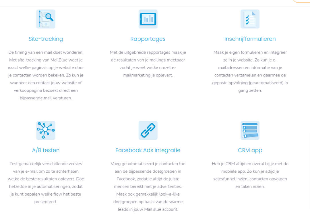 Functies Email marketing systeem mailblue