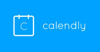 Calendly Logo blauwe achtergrond