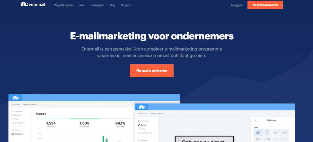 Enormail Homepagina Email Marketing voor ondernemers