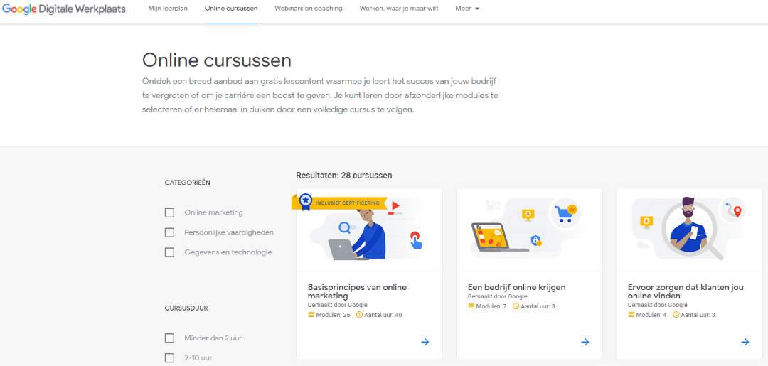 Google Digitale werkplaats overzicht Online cursussen
