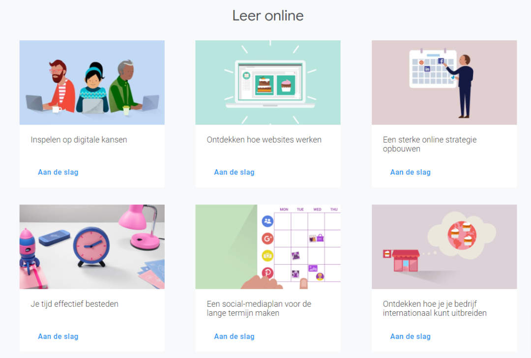 Leer online verschillende vaardigheden met Google Werkplaatst