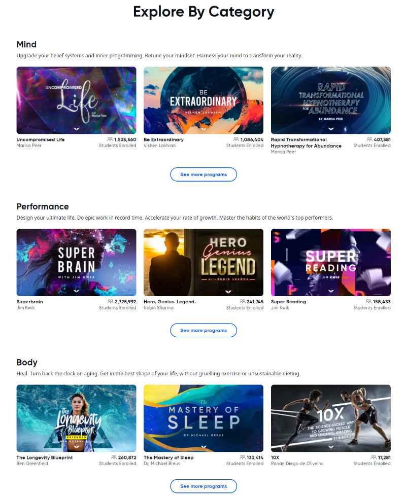 Mindvalley Online Leren categorieen en programmas