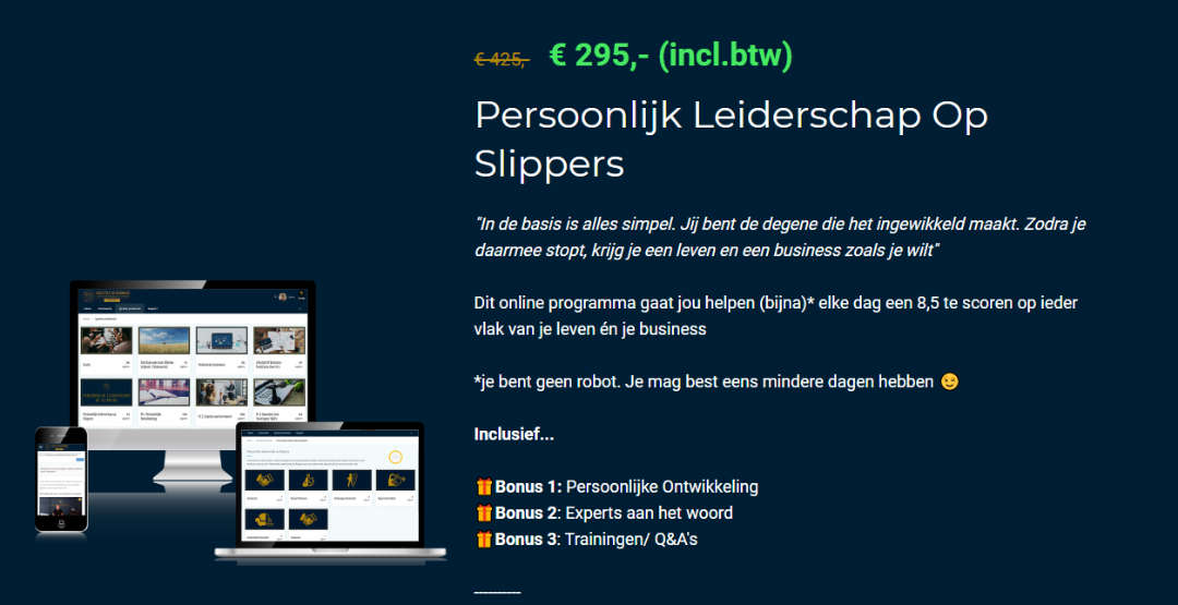 Prijs Persoonlijk Leiderschap op Slippers Online Cursus