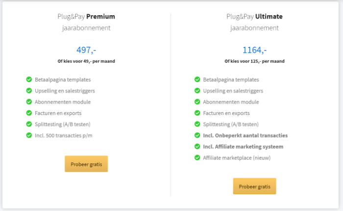 Tarieven Plug&Pay
