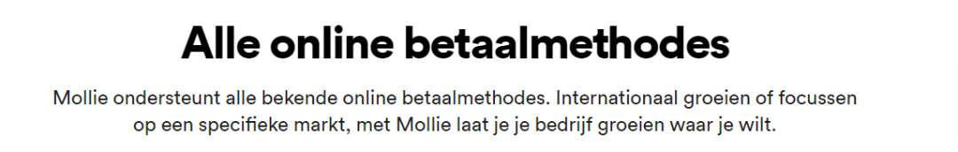 Accepteer online betaalmethodes met Mollie