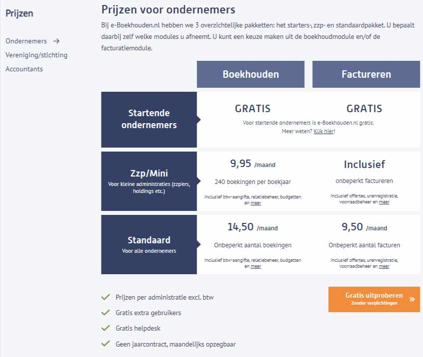 Prijzen en pakketten eBoekhouden.nl
