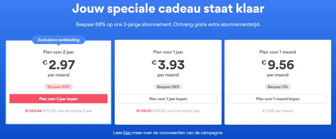 Prijzen en tarieven NordVPN