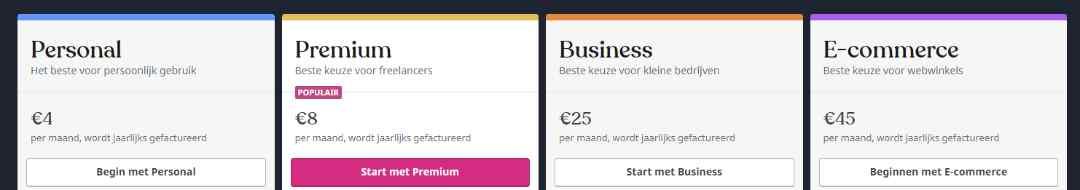 WordPress kosten tarieven en abonnementen