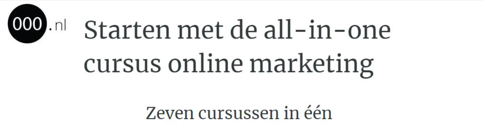 All-in-one cursus van 000.nl Online Marketing en ondernemen